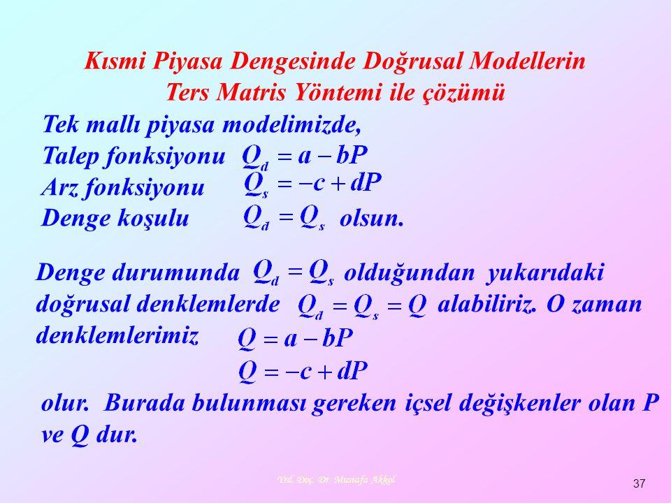 Yrd. Doç. Dr. Mustafa Akkol 37 Kısmi Piyasa Dengesinde Doğrusal Modellerin Ters Matris Yöntemi ile çözümü Tek mallı piyasa modelimizde, Talep fonksiyo