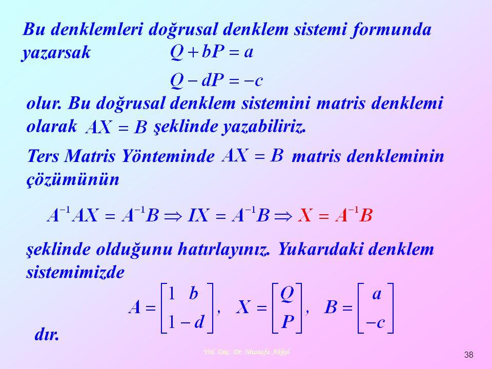 Yrd. Doç. Dr. Mustafa Akkol 38 Bu denklemleri doğrusal denklem sistemi formunda yazarsak olur. Bu doğrusal denklem sistemini matris denklemi olarak şe