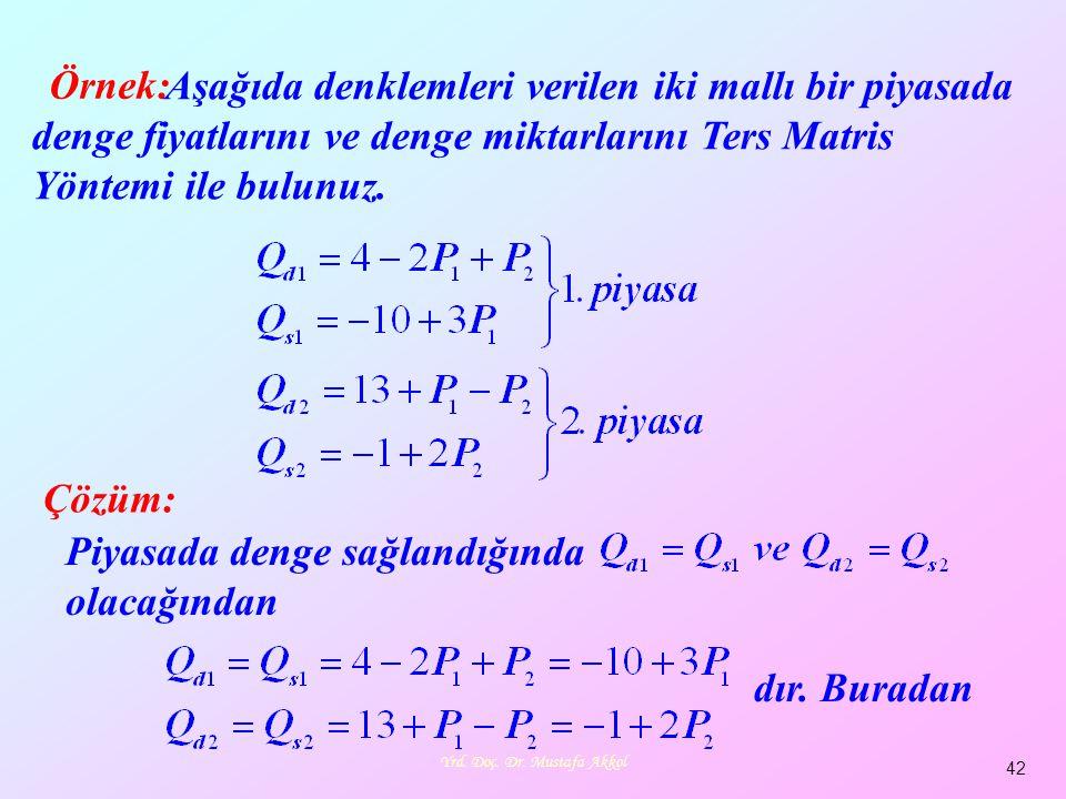 Yrd. Doç. Dr. Mustafa Akkol 42 Örnek: Aşağıda denklemleri verilen iki mallı bir piyasada denge fiyatlarını ve denge miktarlarını Ters Matris Yöntemi i