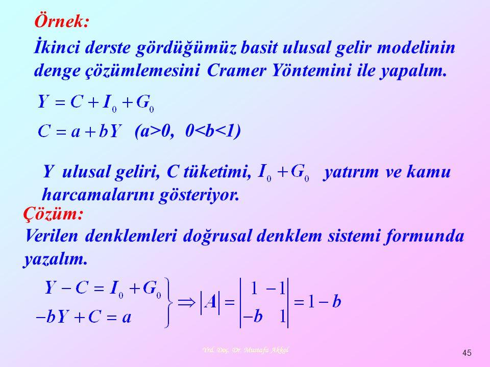 Yrd. Doç. Dr. Mustafa Akkol 45 Örnek: İkinci derste gördüğümüz basit ulusal gelir modelinin denge çözümlemesini Cramer Yöntemini ile yapalım. Y ulusal