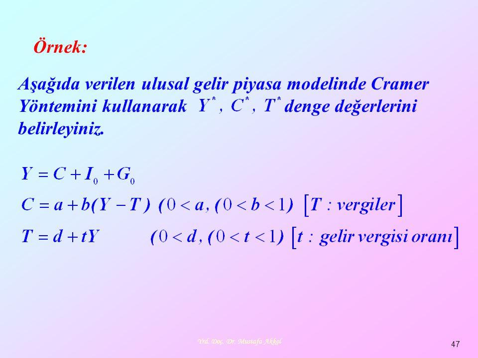 Yrd. Doç. Dr. Mustafa Akkol 47 Örnek: Aşağıda verilen ulusal gelir piyasa modelinde Cramer Yöntemini kullanarak denge değerlerini belirleyiniz.