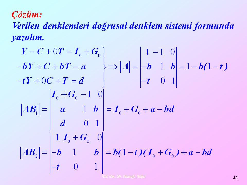 Yrd. Doç. Dr. Mustafa Akkol 48 Verilen denklemleri doğrusal denklem sistemi formunda yazalım. Çözüm: