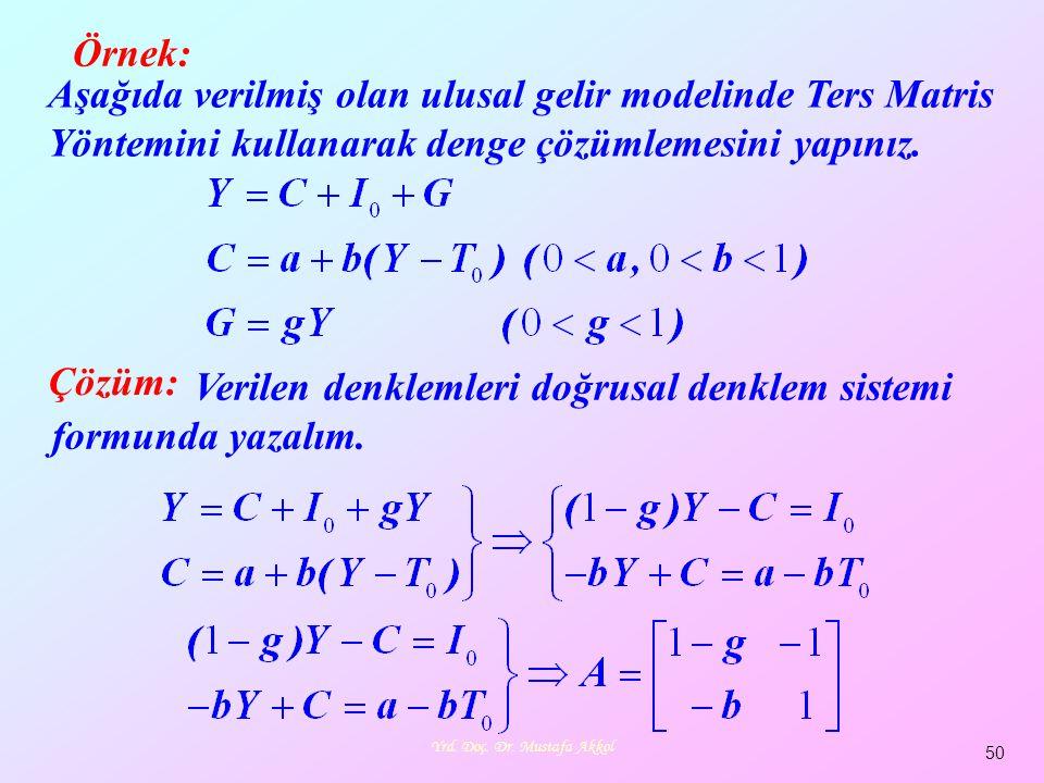 Yrd. Doç. Dr. Mustafa Akkol 50 Örnek: Aşağıda verilmiş olan ulusal gelir modelinde Ters Matris Yöntemini kullanarak denge çözümlemesini yapınız. Veril