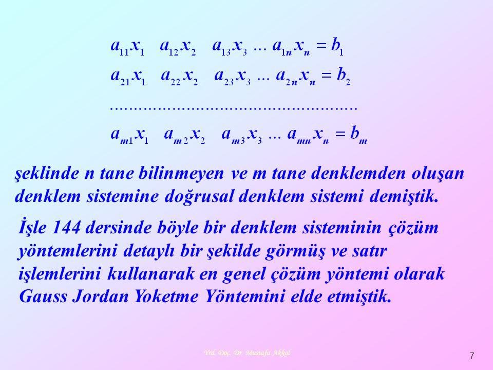 7 şeklinde n tane bilinmeyen ve m tane denklemden oluşan denklem sistemine doğrusal denklem sistemi demiştik. İşle 144 dersinde böyle bir denklem sist
