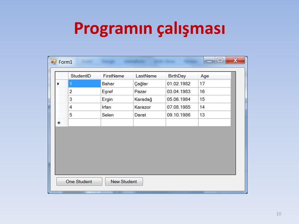 Programın çalışması 10