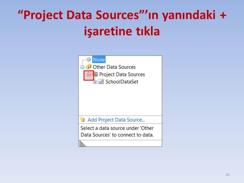 """""""Project Data Sources""""'ın yanındaki + işaretine tıkla 26"""