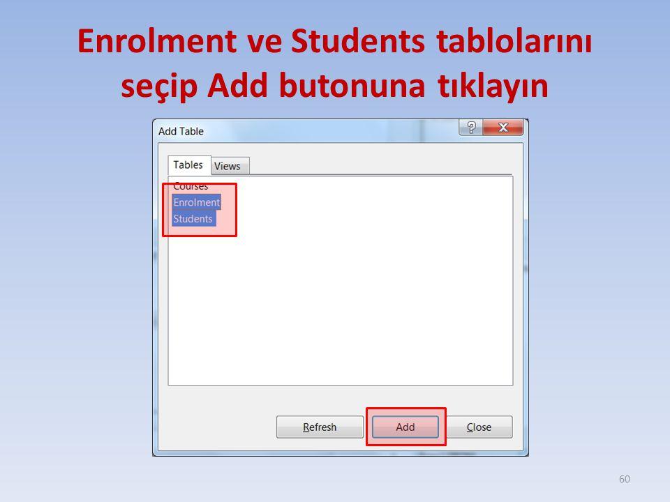 Enrolment ve Students tablolarını seçip Add butonuna tıklayın 60