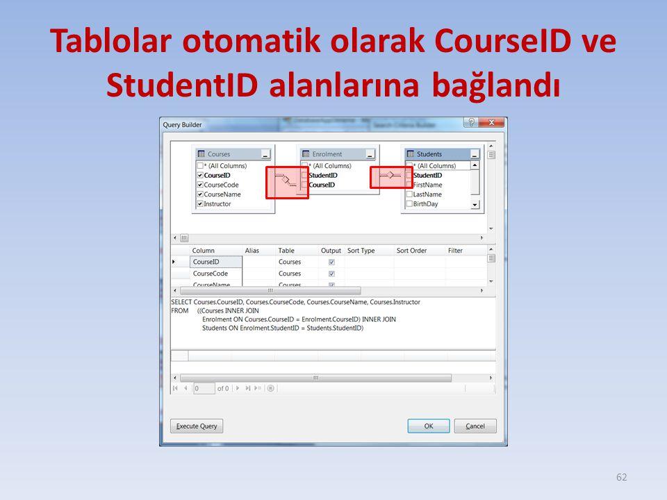 Tablolar otomatik olarak CourseID ve StudentID alanlarına bağlandı 62