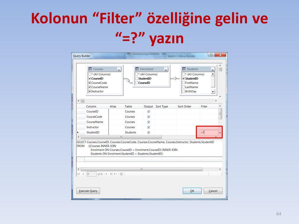 """Kolonun """"Filter"""" özelliğine gelin ve """"=?"""" yazın 64"""