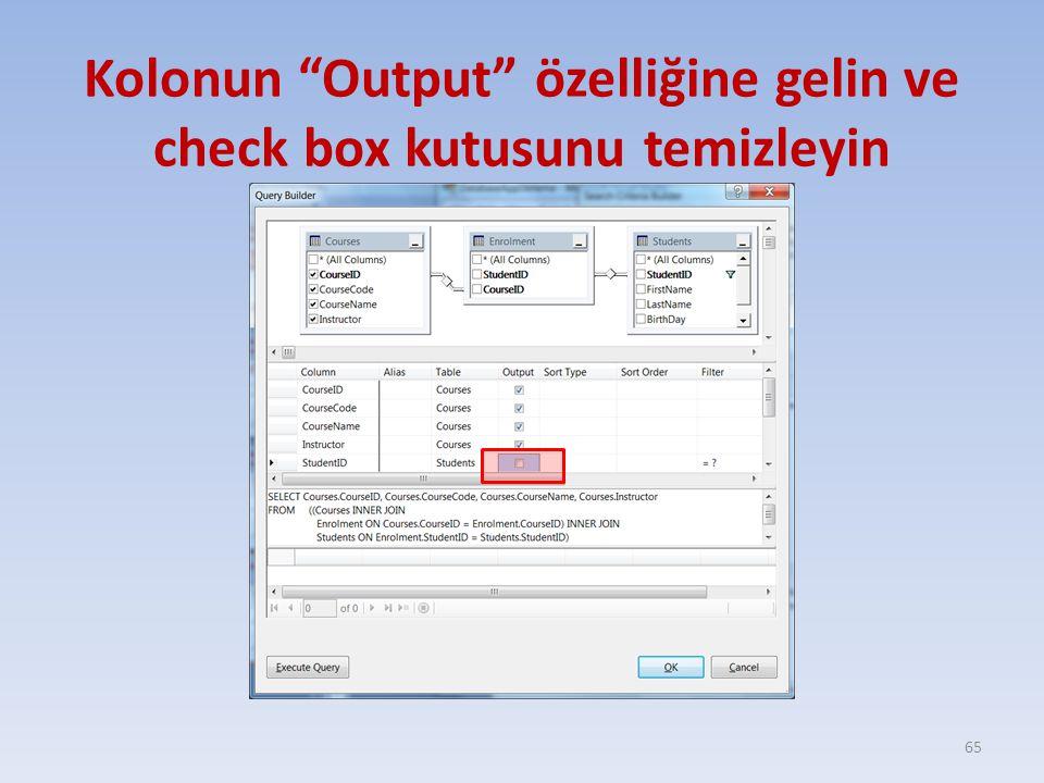 """Kolonun """"Output"""" özelliğine gelin ve check box kutusunu temizleyin 65"""