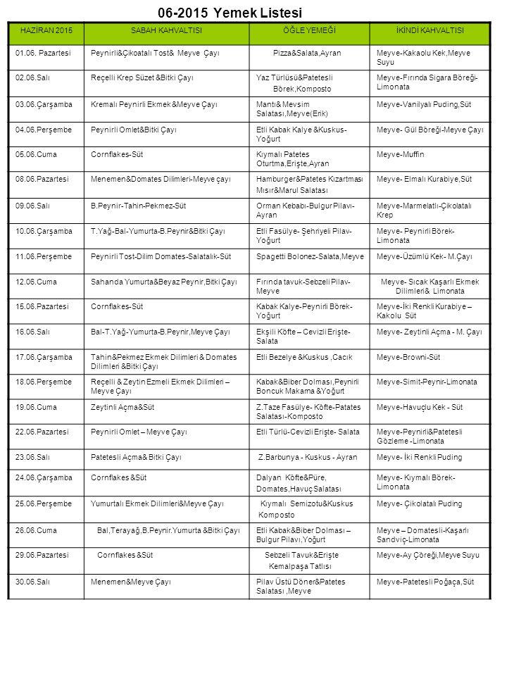 06-2015 Yemek Listesi HAZİRAN 2015SABAH KAHVALTISIÖĞLE YEMEĞİİKİNDİ KAHVALTISI 01.06.