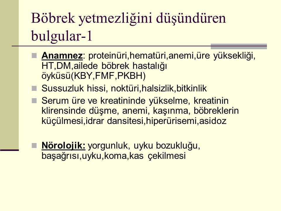 Böbrek yetmezliğini düşündüren bulgular-1 Anamnez: proteinüri,hematüri,anemi,üre yüksekliği, HT,DM,ailede böbrek hastalığı öyküsü(KBY,FMF,PKBH) Sussuz