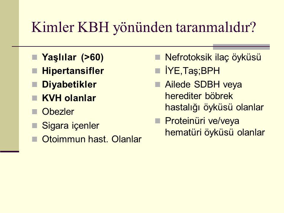Kimler KBH yönünden taranmalıdır? Yaşlılar (>60) Hipertansifler Diyabetikler KVH olanlar Obezler Sigara içenler Otoimmun hast. Olanlar Nefrotoksik ila