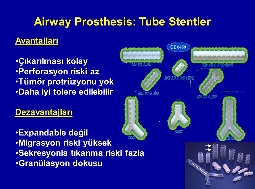 Airway Prosthesis: Tube Stentler Avantajları Çıkarılması kolay Perforasyon riski az Tümör protrüzyonu yok Daha iyi tolere edilebilir Dezavantajları Ex