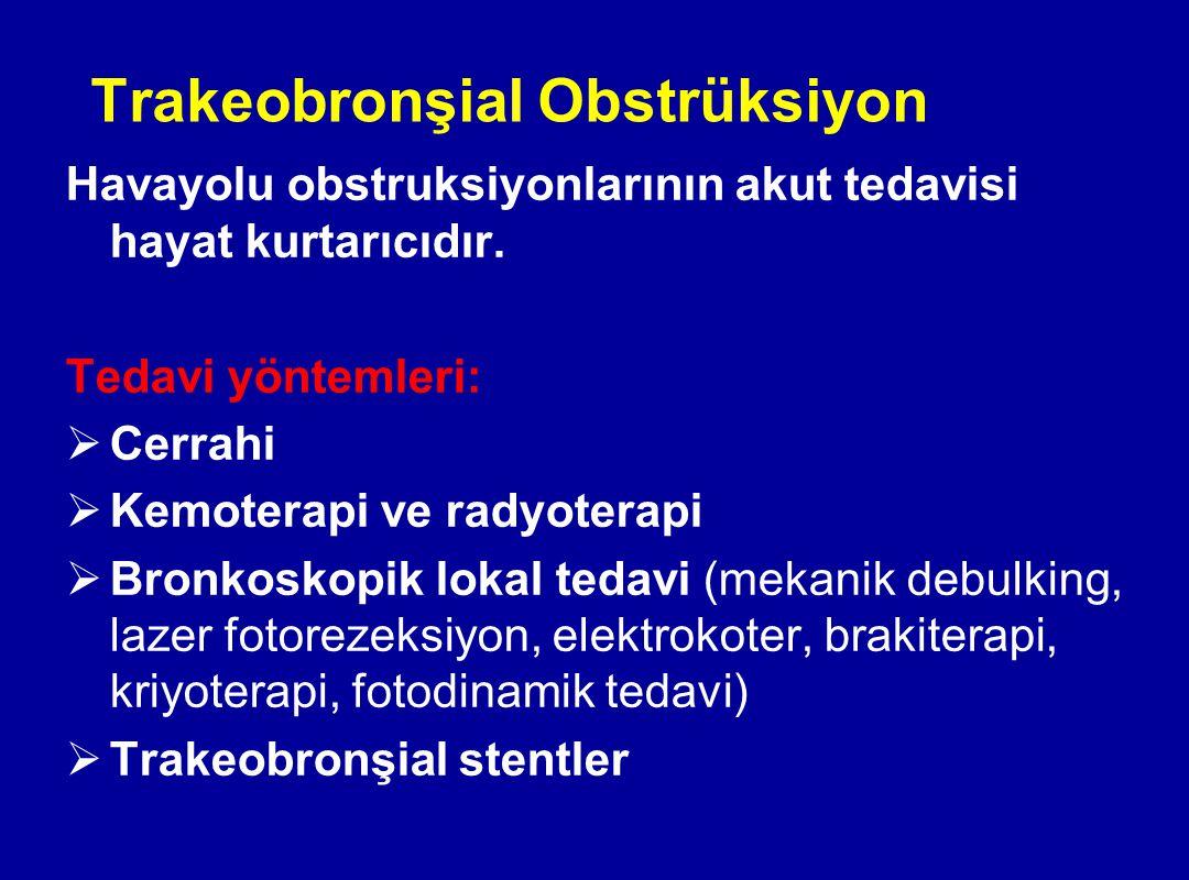 Trakeobronşial Obstrüksiyon Havayolu obstruksiyonlarının akut tedavisi hayat kurtarıcıdır. Tedavi yöntemleri:  Cerrahi  Kemoterapi ve radyoterapi 