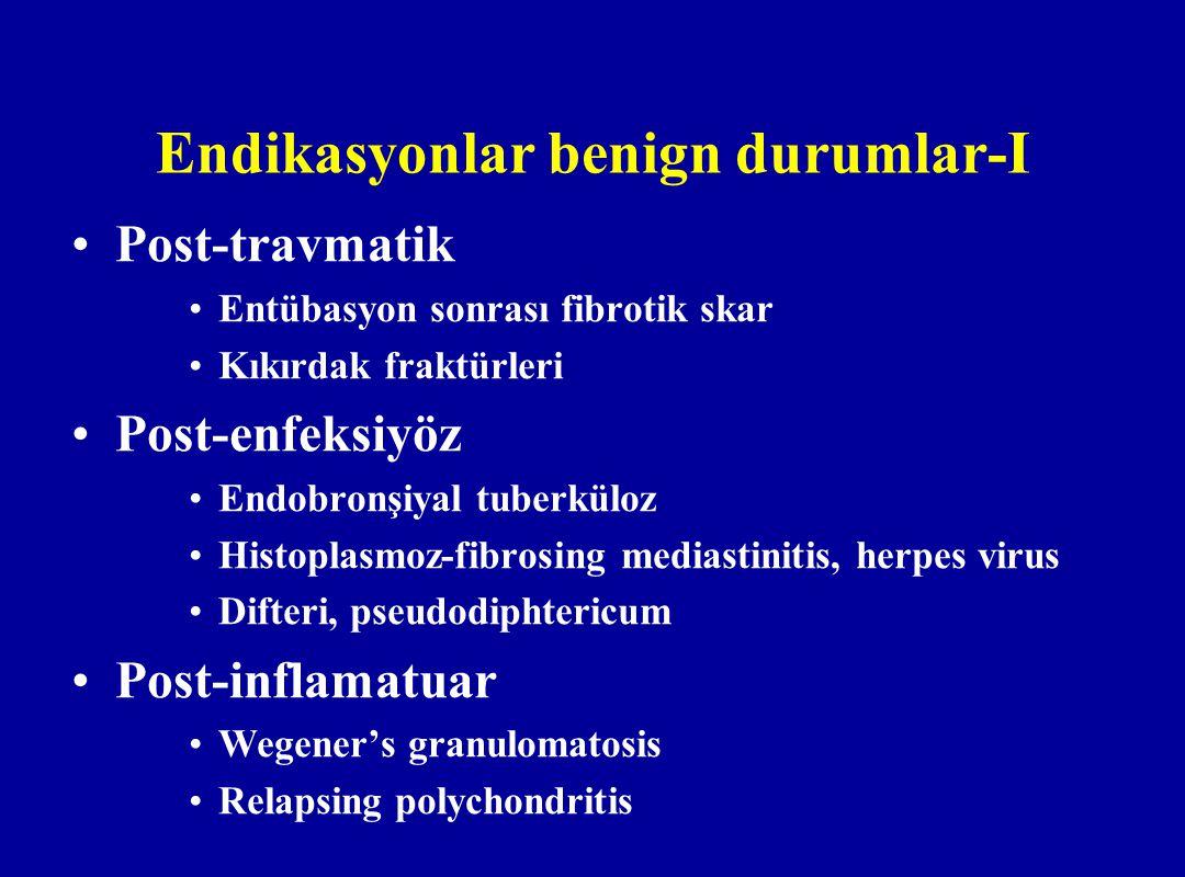 Endikasyonlar benign durumlar-I Post-travmatik Entübasyon sonrası fibrotik skar Kıkırdak fraktürleri Post-enfeksiyöz Endobronşiyal tuberküloz Histopla