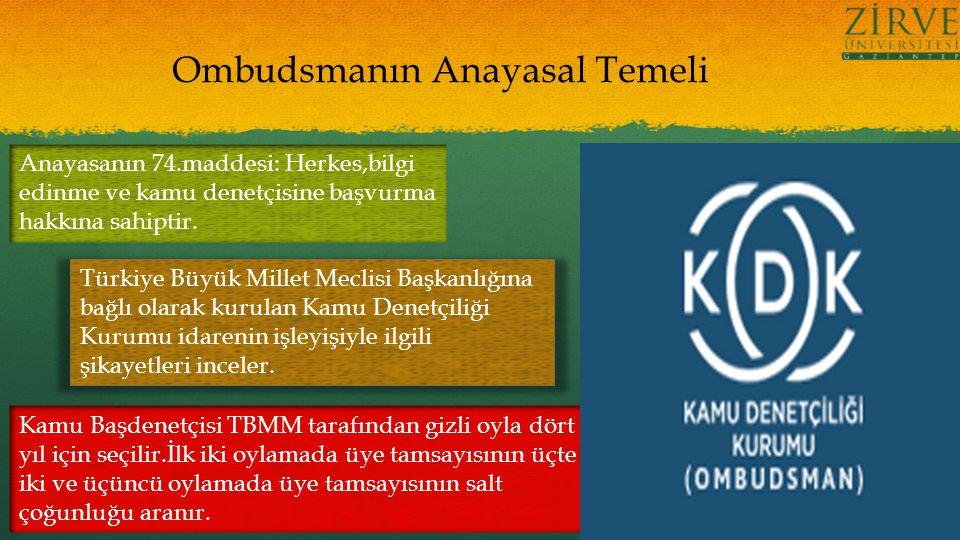 Ombudsmanın Anayasal Temeli Anayasanın 74.maddesi: Herkes,bilgi edinme ve kamu denetçisine başvurma hakkına sahiptir.