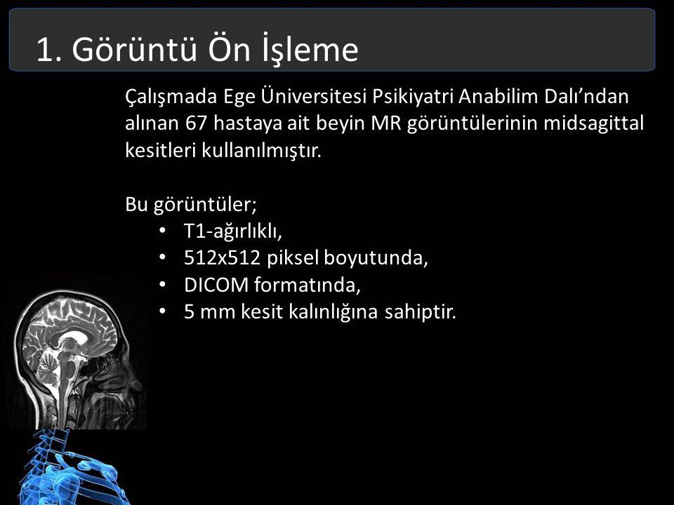 1. Görüntü Ön İşleme Çalışmada Ege Üniversitesi Psikiyatri Anabilim Dalı'ndan alınan 67 hastaya ait beyin MR görüntülerinin midsagittal kesitleri kull