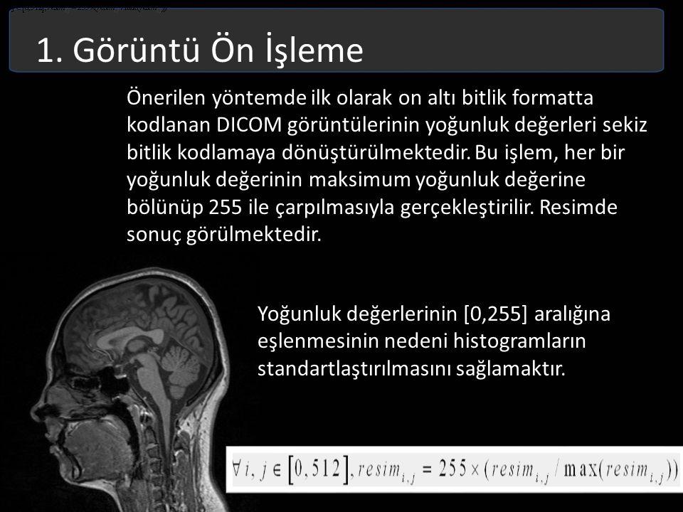 1. Görüntü Ön İşleme Önerilen yöntemde ilk olarak on altı bitlik formatta kodlanan DICOM görüntülerinin yoğunluk değerleri sekiz bitlik kodlamaya dönü