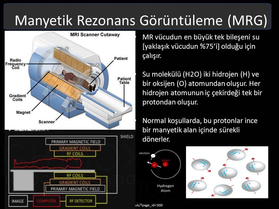 Manyetik Rezonans Görüntüleme (MRG) Normal olarak, bu iç manyetik alan rasgele yerleşmiştir (özel bir yönü yoktur) Temel olarak çok güçlü bir mıknatıs olan MR tarayıcısı içine bir kişi konduğunda, vücudundaki protonlar ya tarayıcının güçlü manyetik alanına doğru yada ona karşı dizilirler.