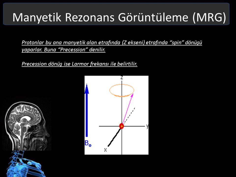 Manyetik Rezonans Görüntüleme (MRG) Net Manyetik Vektör = Tüm Longitudinal + Transverse Magnetizmadır Net Manyetik Vektör, Z ekseni etrafında spiral olarak tespit edilir.
