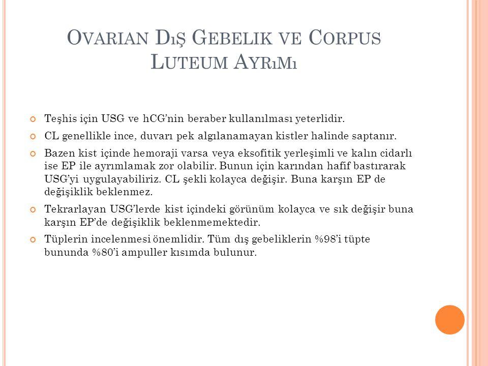 O VARIAN D ıŞ G EBELIK VE C ORPUS L UTEUM A YRıMı Teşhis için USG ve hCG'nin beraber kullanılması yeterlidir.