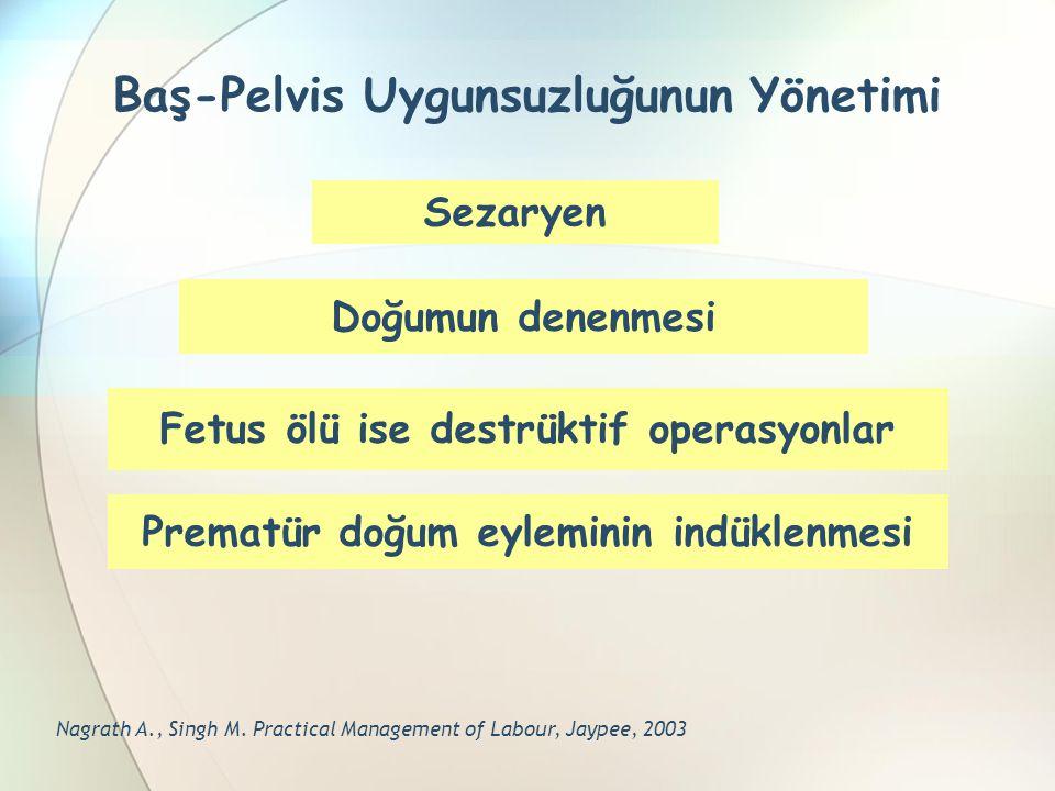 Baş-Pelvis Uygunsuzluğunun Yönetimi Sezaryen Doğumun denenmesi Fetus ölü ise destrüktif operasyonlar Prematür doğum eyleminin indüklenmesi Nagrath A.,