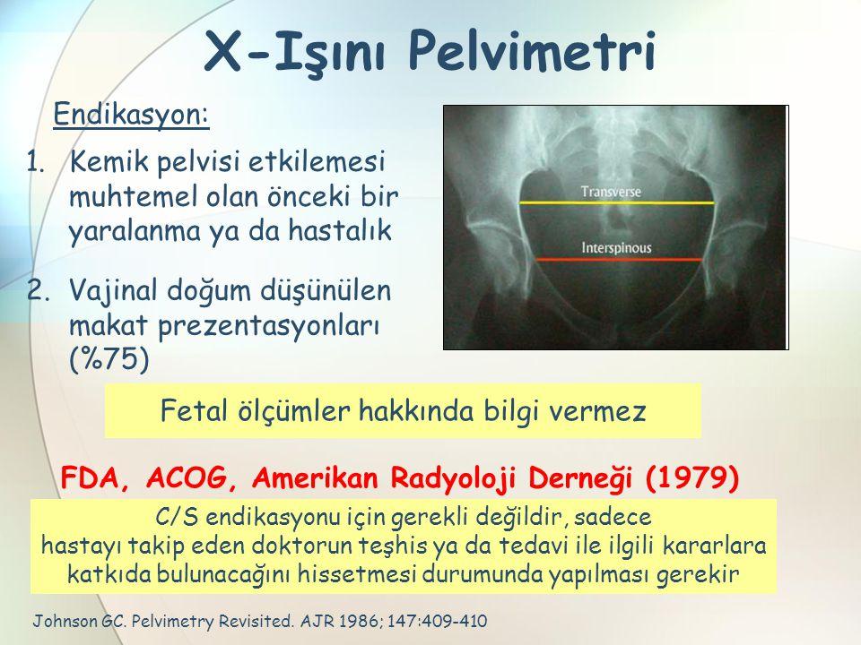 X-Işını Pelvimetri Johnson GC. Pelvimetry Revisited. AJR 1986; 147:409-410 Endikasyon: 2. Vajinal doğum düşünülen makat prezentasyonları (%75) 1.Kemik