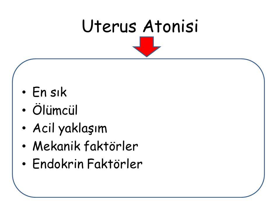 Uterus Atonisi En sık Ölümcül Acil yaklaşım Mekanik faktörler Endokrin Faktörler