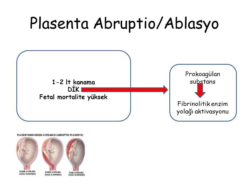 Plasenta Abruptio/Ablasyo 1-2 lt kanama DİK Fetal mortalite yüksek Prokoagülan substans Fibrinolitik enzim yolağı aktivasyonu