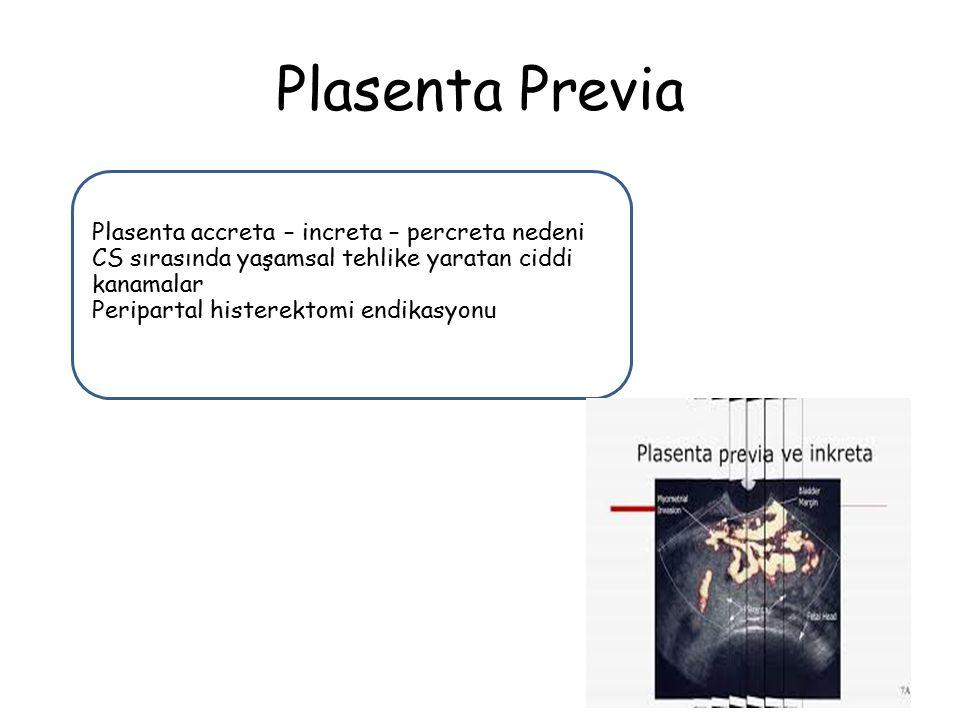 Plasenta Previa Plasenta accreta – increta – percreta nedeni CS sırasında yaşamsal tehlike yaratan ciddi kanamalar Peripartal histerektomi endikasyonu