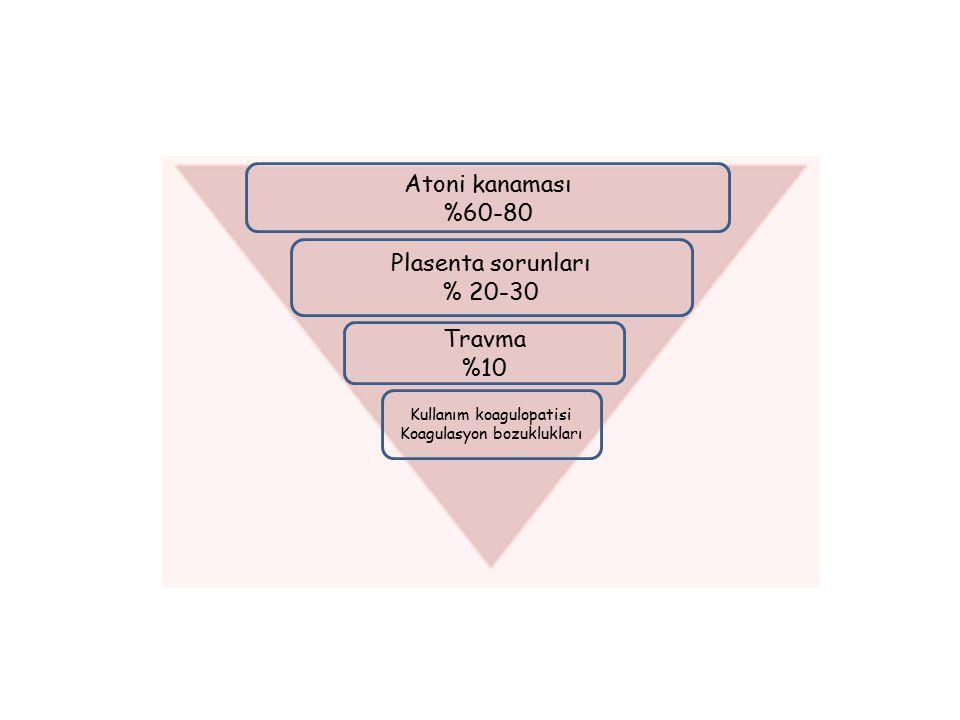 Atoni kanaması %60-80 Plasenta sorunları % 20-30 Travma %10 Kullanım koagulopatisi Koagulasyon bozuklukları