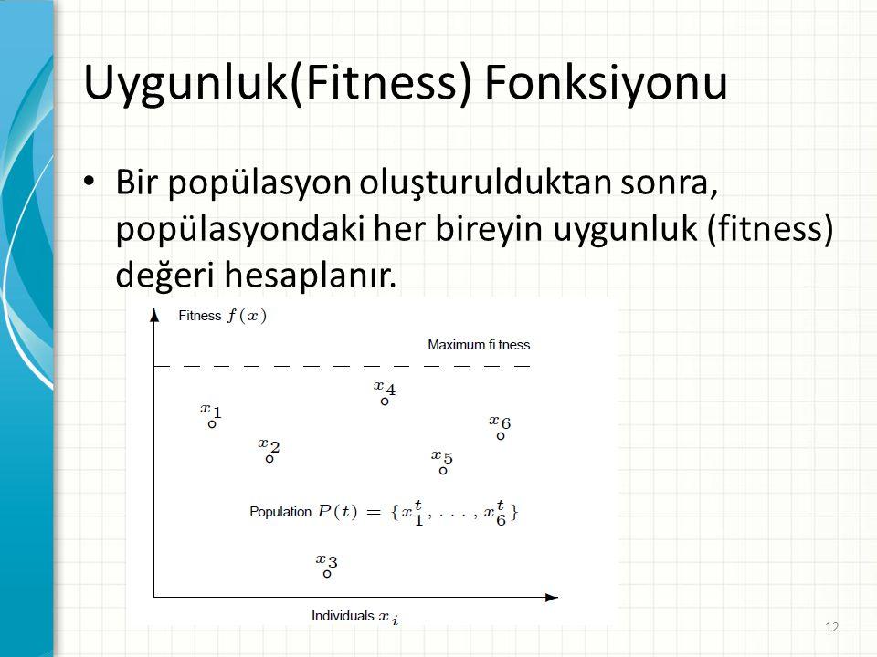 Uygunluk(Fitness) Fonksiyonu Bir popülasyon oluşturulduktan sonra, popülasyondaki her bireyin uygunluk (fitness) değeri hesaplanır. 12
