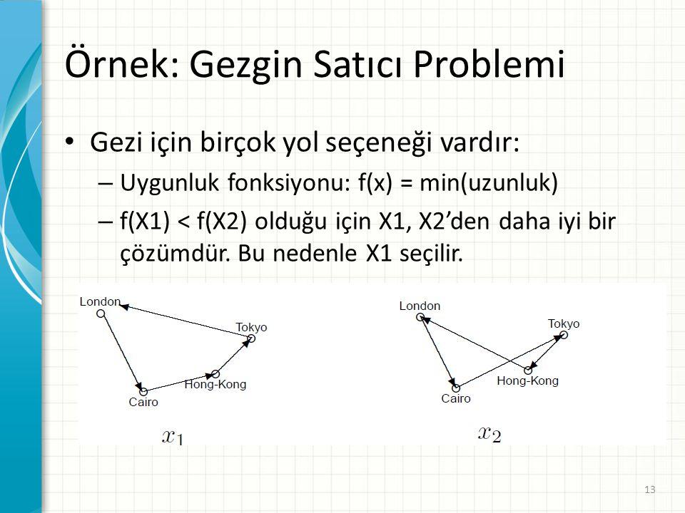 Örnek: Gezgin Satıcı Problemi Gezi için birçok yol seçeneği vardır: – Uygunluk fonksiyonu: f(x) = min(uzunluk) – f(X1) < f(X2) olduğu için X1, X2'den