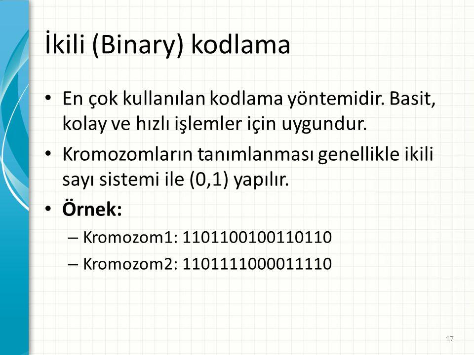 İkili (Binary) kodlama En çok kullanılan kodlama yöntemidir. Basit, kolay ve hızlı işlemler için uygundur. Kromozomların tanımlanması genellikle ikili