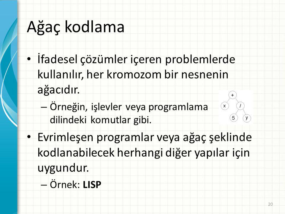 Ağaç kodlama İfadesel çözümler içeren problemlerde kullanılır, her kromozom bir nesnenin ağacıdır. – Örneğin, işlevler veya programlama dilindeki komu