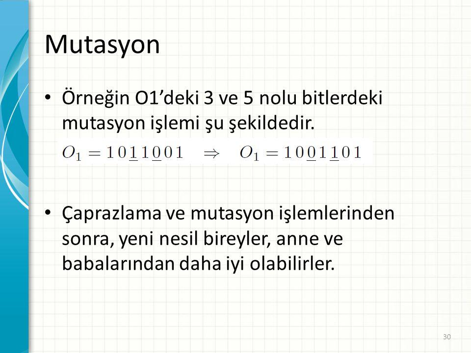 Mutasyon Örneğin O1'deki 3 ve 5 nolu bitlerdeki mutasyon işlemi şu şekildedir. Çaprazlama ve mutasyon işlemlerinden sonra, yeni nesil bireyler, anne v