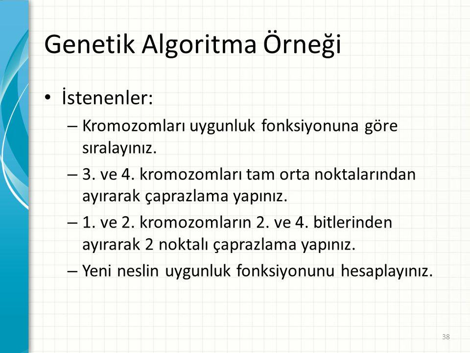 Genetik Algoritma Örneği İstenenler: – Kromozomları uygunluk fonksiyonuna göre sıralayınız. – 3. ve 4. kromozomları tam orta noktalarından ayırarak ça