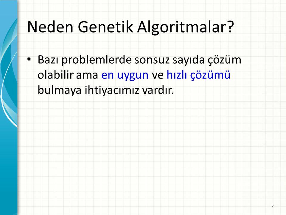 Neden Genetik Algoritmalar? Bazı problemlerde sonsuz sayıda çözüm olabilir ama en uygun ve hızlı çözümü bulmaya ihtiyacımız vardır. 5
