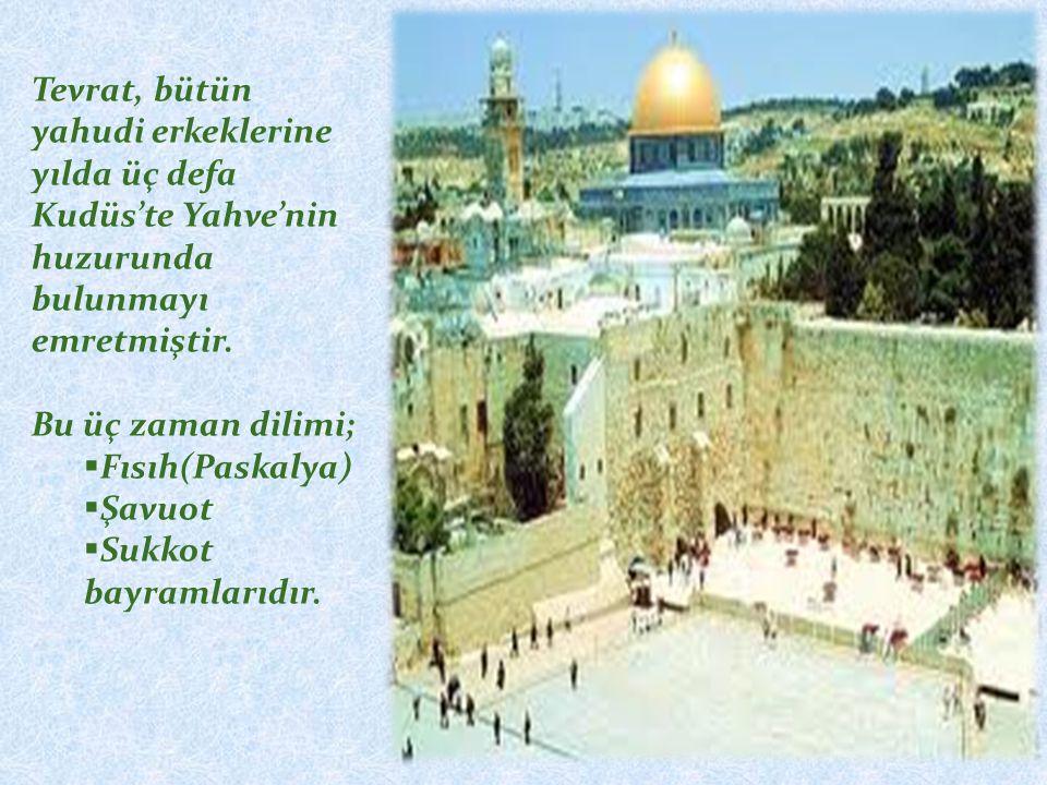 Tevrat, bütün yahudi erkeklerine yılda üç defa Kudüs'te Yahve'nin huzurunda bulunmayı emretmiştir. Bu üç zaman dilimi;  Fısıh(Paskalya)  Şavuot  Su