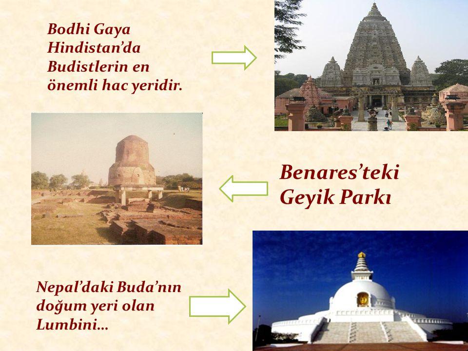 Bodhi Gaya Hindistan'da Budistlerin en önemli hac yeridir. Benares'teki Geyik Parkı Nepal'daki Buda'nın doğum yeri olan Lumbini…