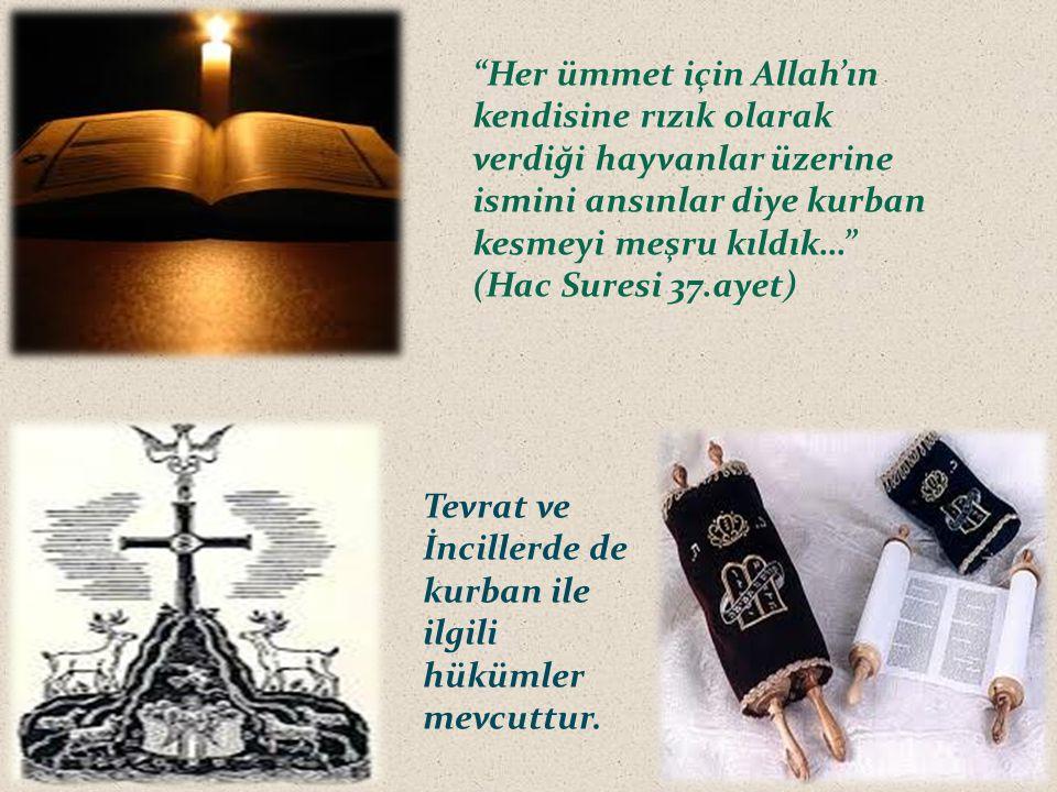 """""""Her ümmet için Allah'ın kendisine rızık olarak verdiği hayvanlar üzerine ismini ansınlar diye kurban kesmeyi meşru kıldık…"""" (Hac Suresi 37.ayet) Tevr"""