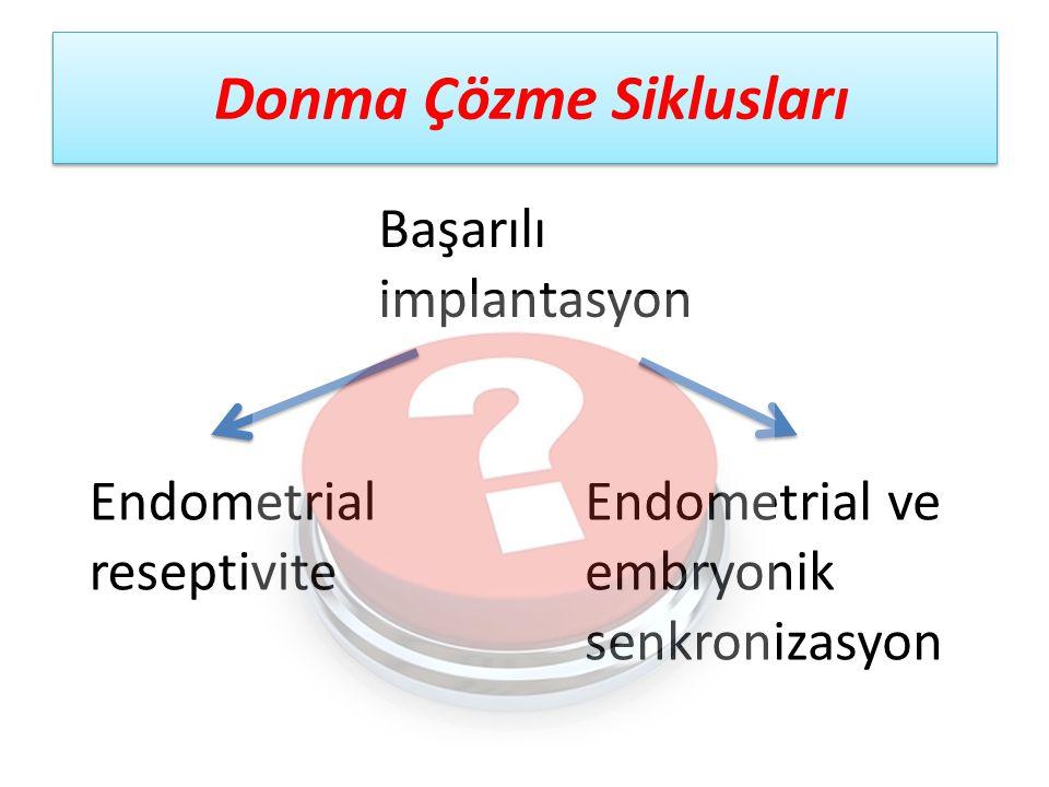 Donma Çözme Siklusları Başarılı implantasyon Endometrial reseptivite Endometrial ve embryonik senkronizasyon