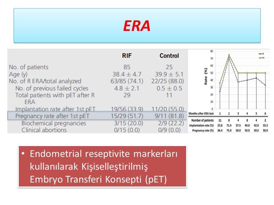 ERA Endometrial reseptivite markerları kullanılarak Kişiselleştirilmiş Embryo Transferi Konsepti (pET)