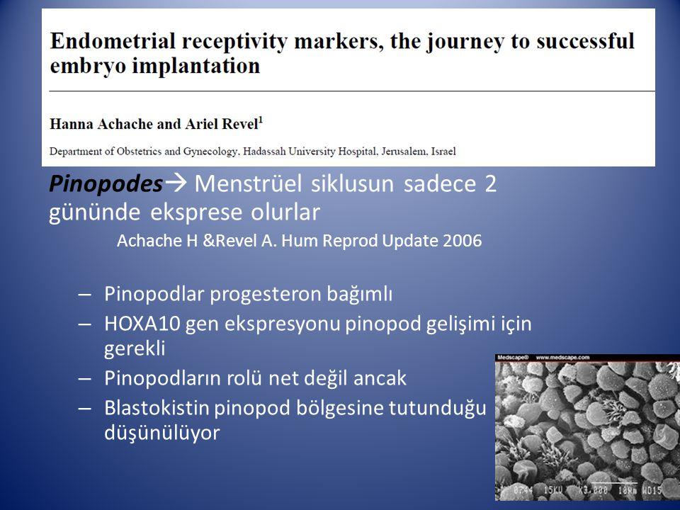 Pinopodes  Menstrüel siklusun sadece 2 gününde eksprese olurlar Achache H &Revel A. Hum Reprod Update 2006 – Pinopodlar progesteron bağımlı – HOXA10