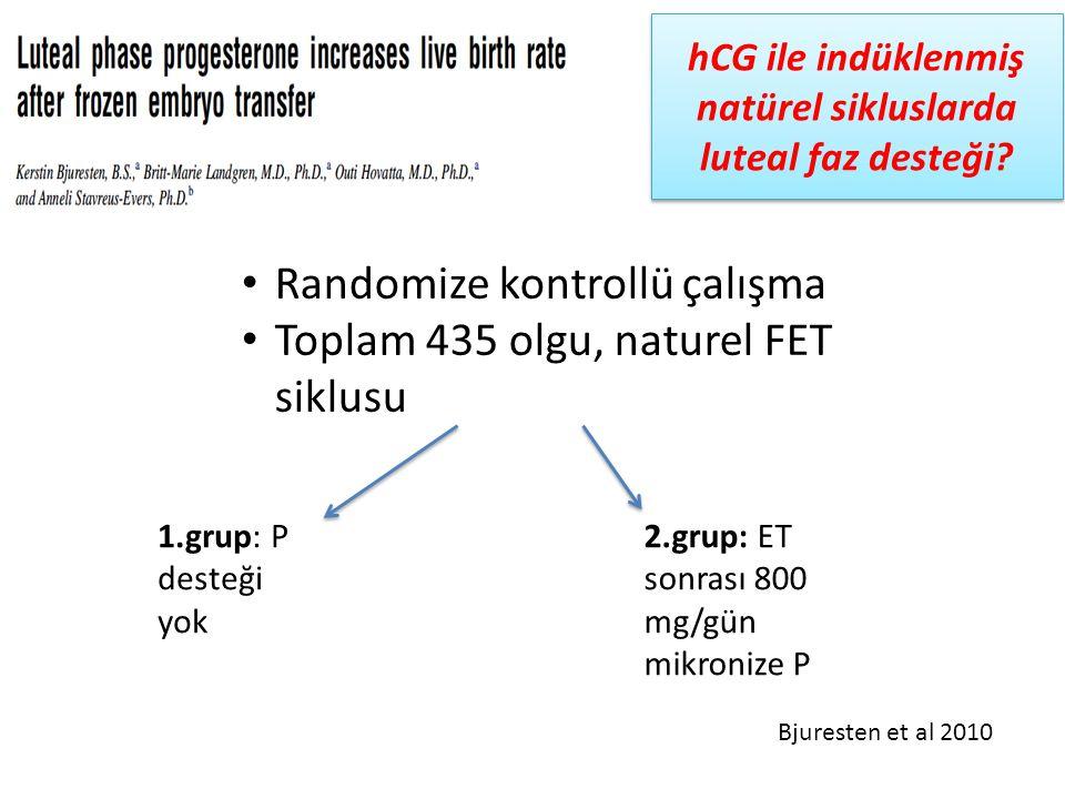 hCG ile indüklenmiş natürel sikluslarda luteal faz desteği? Randomize kontrollü çalışma Toplam 435 olgu, naturel FET siklusu 1.grup: P desteği yok 2.g