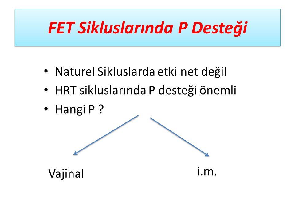 FET Sikluslarında P Desteği Naturel Sikluslarda etki net değil HRT sikluslarında P desteği önemli Hangi P ? Vajinal i.m.