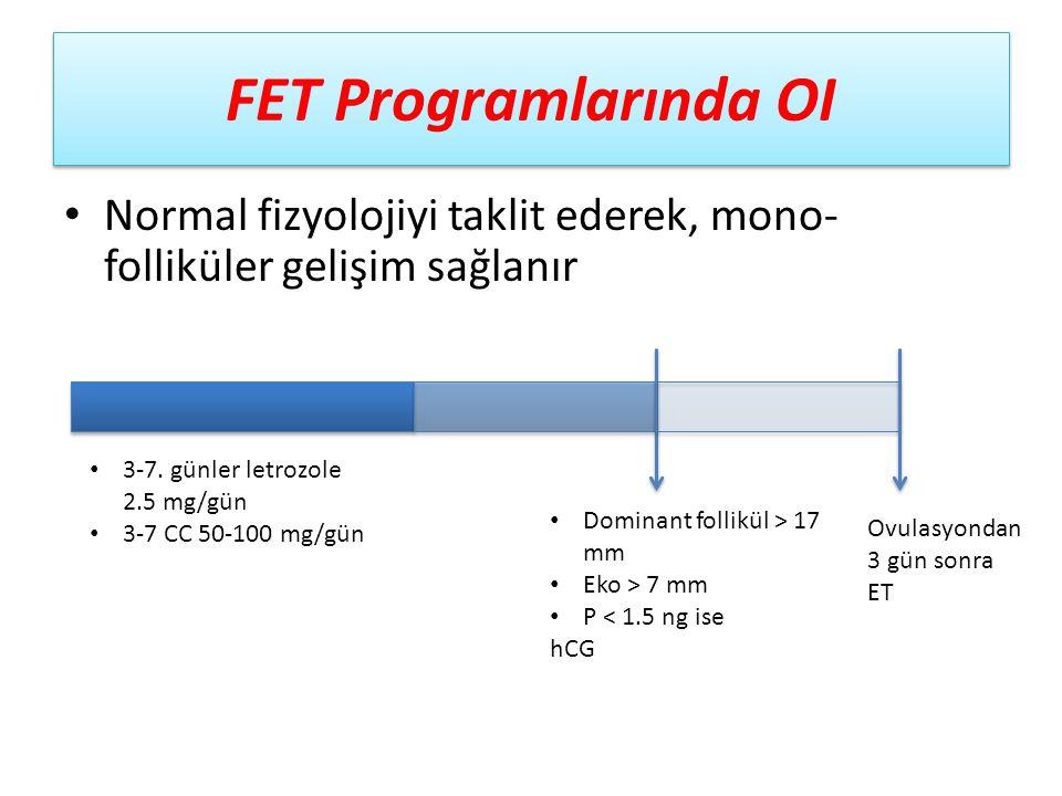 FET Programlarında OI Normal fizyolojiyi taklit ederek, mono- folliküler gelişim sağlanır 3-7. günler letrozole 2.5 mg/gün 3-7 CC 50-100 mg/gün Domina