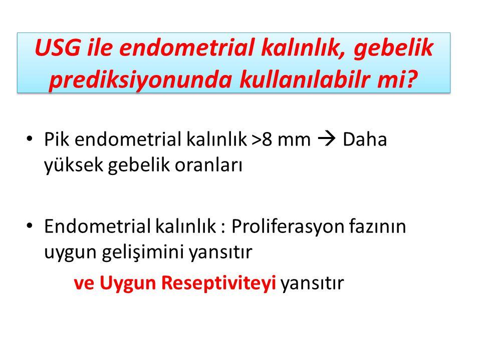 USG ile endometrial kalınlık, gebelik prediksiyonunda kullanılabilr mi? Pik endometrial kalınlık >8 mm  Daha yüksek gebelik oranları Endometrial kalı
