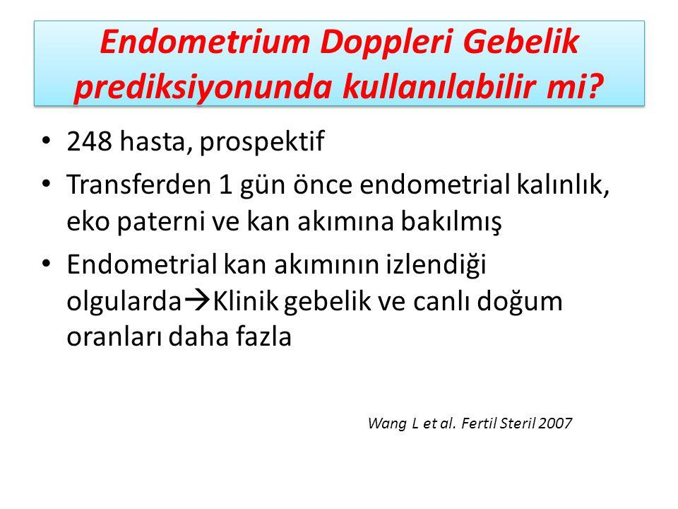 Endometrium Doppleri Gebelik prediksiyonunda kullanılabilir mi? 248 hasta, prospektif Transferden 1 gün önce endometrial kalınlık, eko paterni ve kan